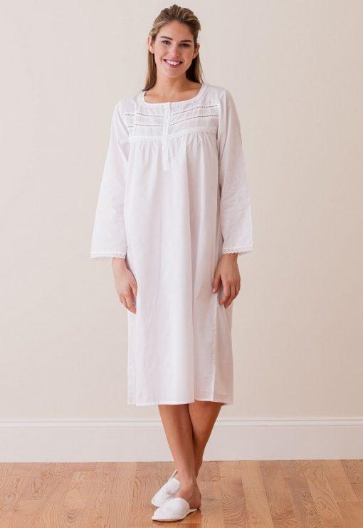 Jacaranda Living White Cotton Nightgown, Lace - EL266 Anne - Cachet ...