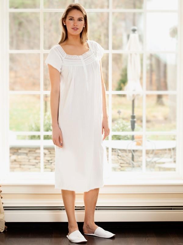 802324969d3e Jacaranda Living White Cotton Nightgown, Lace – EL288 Sally | Cachet ...
