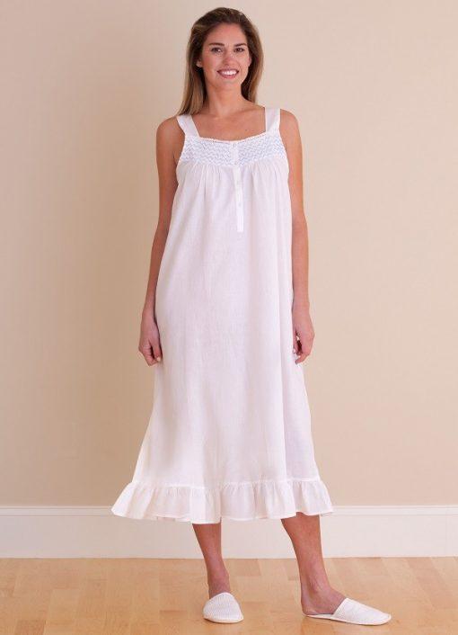 Jacaranda Living White Cotton Nightgown - EL322 Vicki - Cachet Wellesley