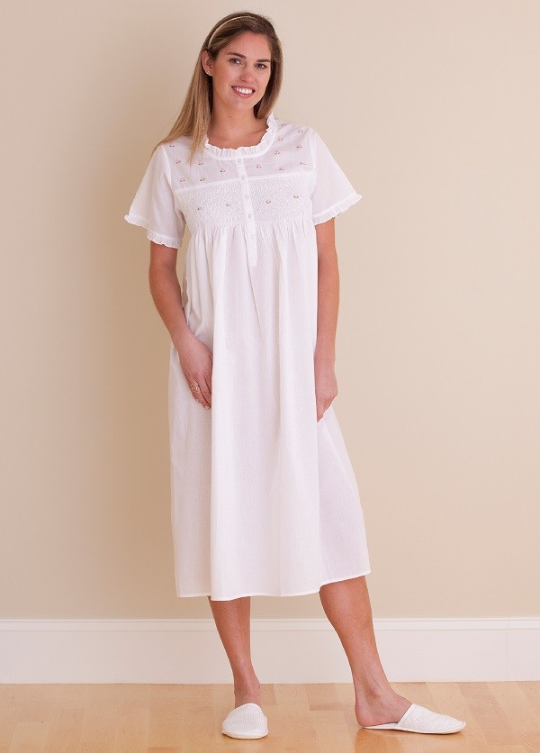 657e1ad13f Jacaranda Living White Cotton Nightgown - EL324 Cathy - Cachet Wellesley