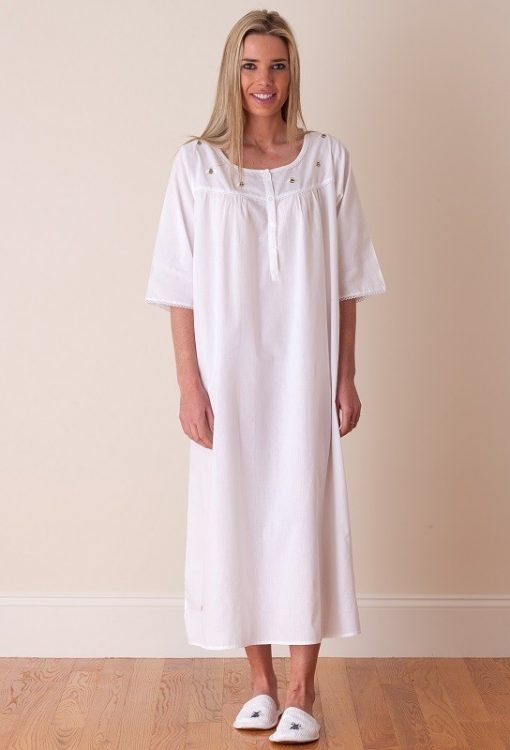 Jacaranda Living White Cotton Nightgown, Embroidered - EL306 Bee ...