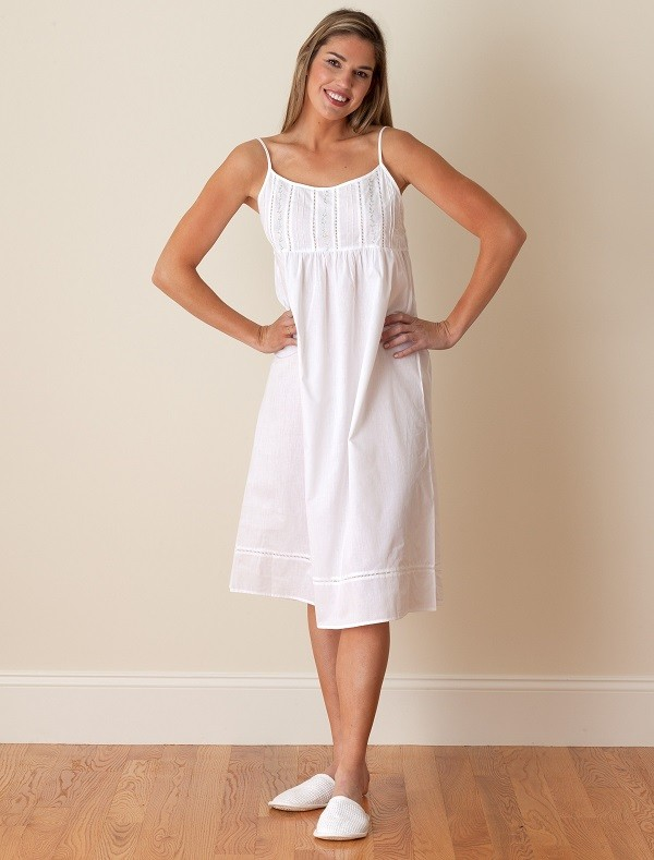 Jacaranda Living White Cotton Nightgown, Embroidered - EL242 Elaine ...