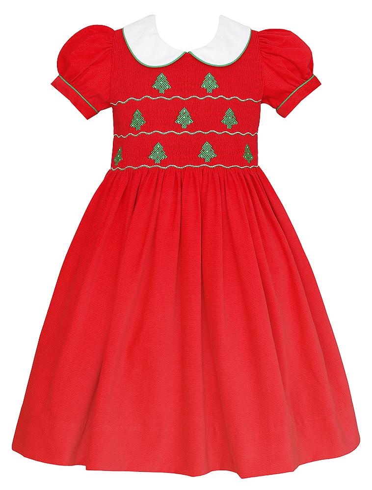 Anavini Baby Toddler Girls Red Corduroy Dress Smocked