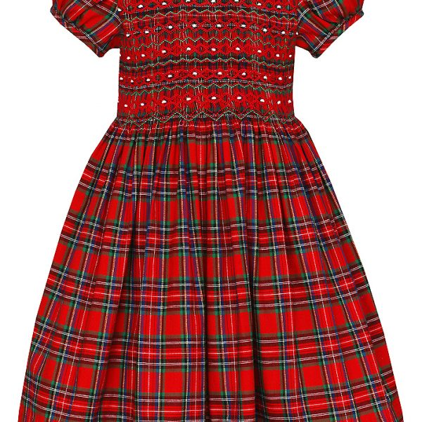 Smocked Christmas Dress.Anavini Girls Red Holiday Plaid Christmas Dress White Collar Fully Smocked Bodice
